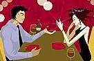 Dîner romantique en couple au restaurant