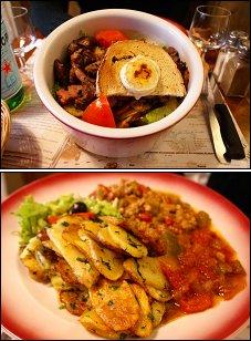 Photo restaurant paris Chez Papa du 18ème - L'énorme salade Super Papa<br>et le fameux Axoa basque